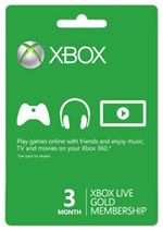 Xbox Live Three Month Gold Subscription Card