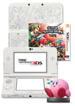 New Nintendo 3DS Console + Super Smash Bros. + Super Smash Bros. Cover Plate + Kirby Amiibo
